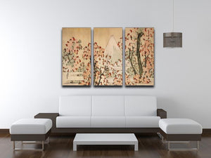 Mount Fuji behind cherry trees and flowers by Hokusai 3 Split Panel Canvas Print - Canvas Art Rocks - 3