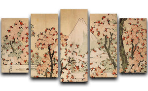 Mount Fuji behind cherry trees and flowers by Hokusai 5 Split Panel Canvas  - Canvas Art Rocks - 1