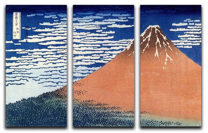 Mount Fuji by Hokusai 3 Split Panel Canvas Print