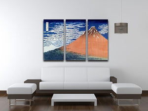 Mount Fuji by Hokusai 3 Split Panel Canvas Print - Canvas Art Rocks - 3