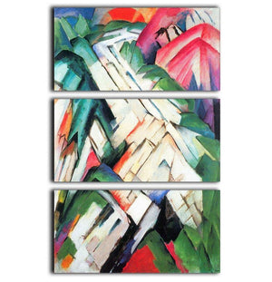 Mountains Landscape by Franz Marc 3 Split Panel Canvas Print - Canvas Art Rocks - 1