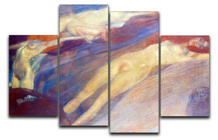 Moving water by Klimt 4 Split Panel Canvas