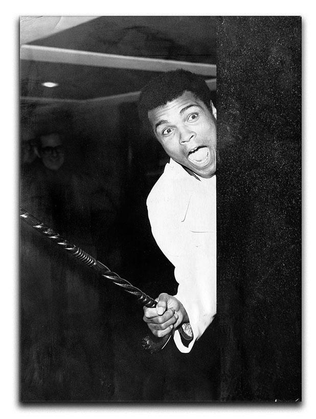 Muhammad Ali larking about at Heathrow Canvas Print or Poster  - Canvas Art Rocks - 1