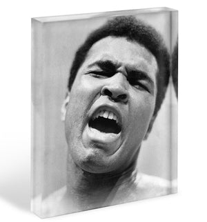 Muhammad Ali shouts Acrylic Block - Canvas Art Rocks - 1