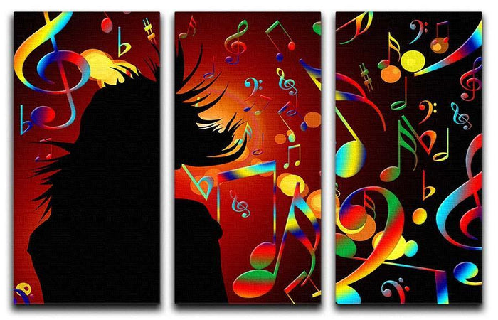 Music Note Dancing 3 Split Panel Canvas Print