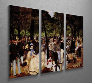 Music in Tuilerie Garden by Manet 3 Split Panel Canvas Print - Canvas Art Rocks - 2