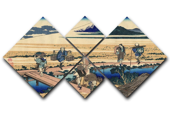Nakahara in the Sagami province by Hokusai 4 Square Multi Panel Canvas