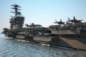 Navy aircraft carrier angled view Wall Mural Wallpaper - Canvas Art Rocks - 1