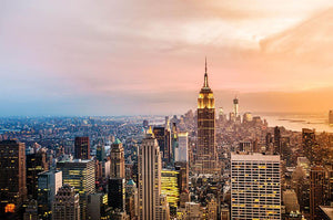 New York City skyline at sunset Wall Mural Wallpaper - Canvas Art Rocks - 1