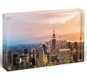New York skyline skyscrapers at sunset Acrylic Block - Canvas Art Rocks - 1