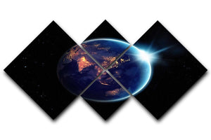 Night in planet 4 Square Multi Panel Canvas  - Canvas Art Rocks - 1