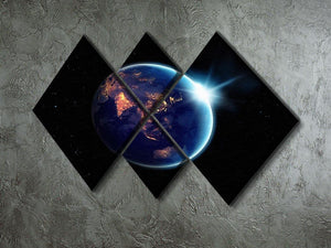 Night in planet 4 Square Multi Panel Canvas - Canvas Art Rocks - 2