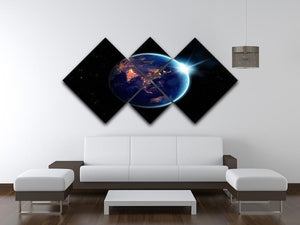 Night in planet 4 Square Multi Panel Canvas - Canvas Art Rocks - 3