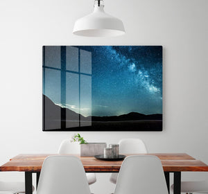 Night sky with stars milky way over mountains HD Metal Print