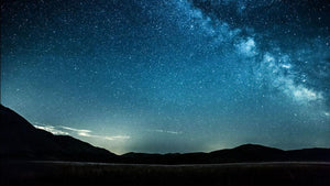 Night sky with stars milky way over mountains Wall Mural Wallpaper - Canvas Art Rocks - 1