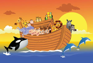 Noah Ark Whale Wall Mural Wallpaper - Canvas Art Rocks - 1