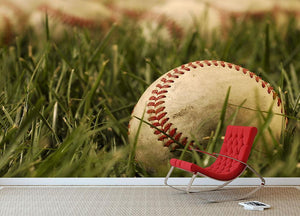 Nostalgic baseballs in the grass Wall Mural Wallpaper - Canvas Art Rocks - 2