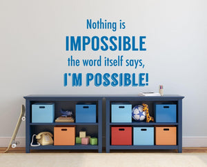 Nothing Is Impossible Wall Sticker - Canvas Art Rocks - 1