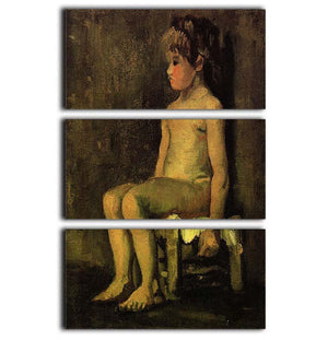 Nude Study of a Little Girl Seated by Van Gogh 3 Split Panel Canvas Print - Canvas Art Rocks - 1