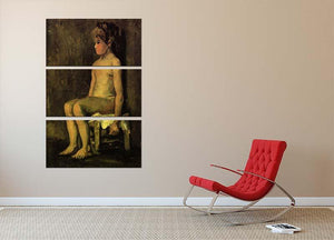 Nude Study of a Little Girl Seated by Van Gogh 3 Split Panel Canvas Print - Canvas Art Rocks - 2