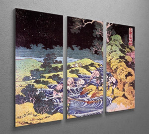 Ocean landscape by Hokusai 3 Split Panel Canvas Print - Canvas Art Rocks - 2