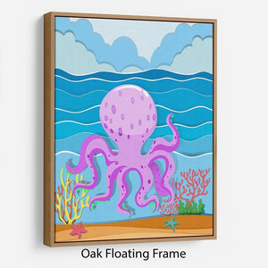 Octopus in the ocean Floating Frame Canvas