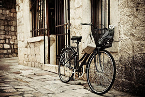 Old bicycle with basket Wall Mural Wallpaper - Canvas Art Rocks - 1