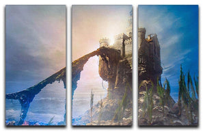 Old castle on the hill 3 Split Panel Canvas Print - Canvas Art Rocks - 1