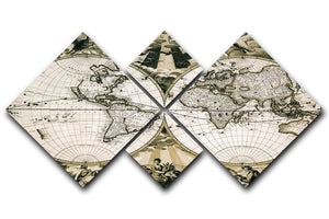 Old paper world map Holland 4 Square Multi Panel Canvas  - Canvas Art Rocks - 1