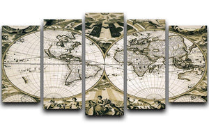 Old paper world map Holland 5 Split Panel Canvas  - Canvas Art Rocks - 1
