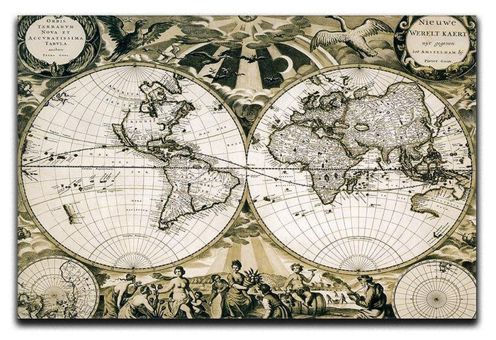 Old paper world map Holland Canvas Print or Poster