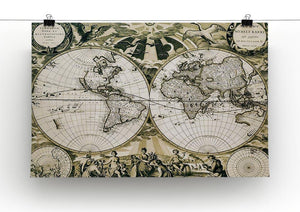 Old paper world map Holland Canvas Print or Poster - Canvas Art Rocks - 2