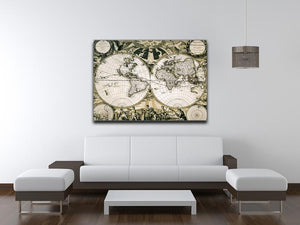Old paper world map Holland Canvas Print or Poster - Canvas Art Rocks - 4