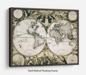 Old paper world map Holland Floating Frame Canvas