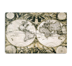 Old paper world map Holland HD Metal Print
