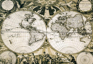 Old paper world map Holland Wall Mural Wallpaper - Canvas Art Rocks - 1