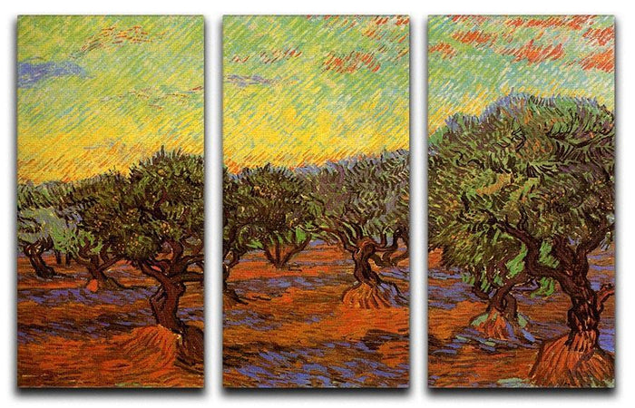 Olive Grove Orange Sky by Van Gogh 3 Split Panel Canvas Print