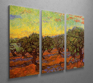 Olive Grove Orange Sky by Van Gogh 3 Split Panel Canvas Print - Canvas Art Rocks - 4
