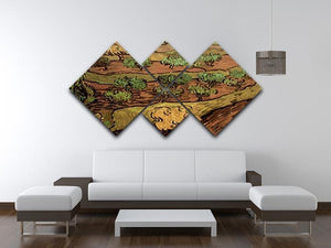 Olive Trees against a Slope of a Hill by Van Gogh 4 Square Multi Panel Canvas - Canvas Art Rocks - 3
