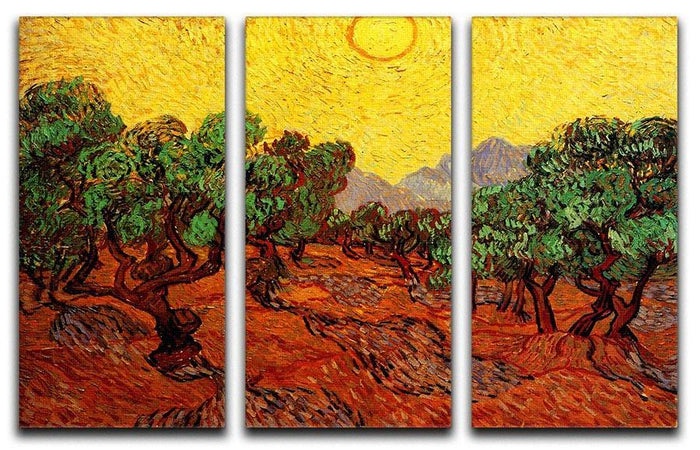 Olive Trees with Yellow Sky and Sun by Van Gogh 3 Split Panel Canvas Print