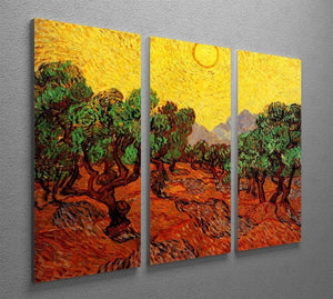 Olive Trees with Yellow Sky and Sun by Van Gogh 3 Split Panel Canvas Print - Canvas Art Rocks - 4