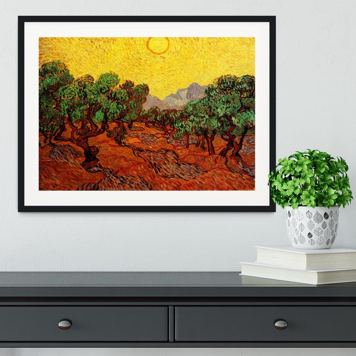 Olive Trees with Yellow Sky and Sun by Van Gogh Framed Print