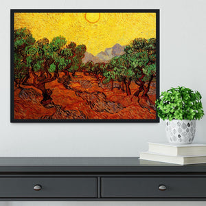 Olive Trees with Yellow Sky and Sun by Van Gogh Framed Print - Canvas Art Rocks - 2