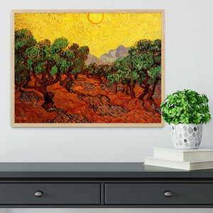 Olive Trees with Yellow Sky and Sun by Van Gogh Framed Print - Canvas Art Rocks - 4