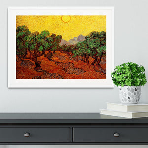Olive Trees with Yellow Sky and Sun by Van Gogh Framed Print - Canvas Art Rocks - 5