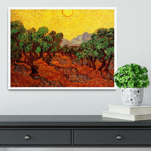 Olive Trees with Yellow Sky and Sun by Van Gogh Framed Print - Canvas Art Rocks -6