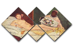 Olympia 1 by Manet 4 Square Multi Panel Canvas  - Canvas Art Rocks - 1