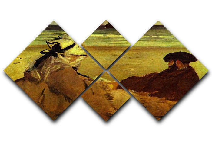 On the beach by Edouard Manet 4 Square Multi Panel Canvas