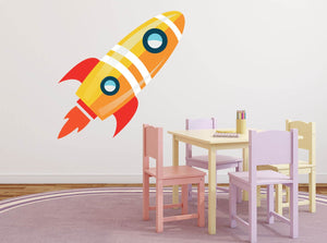 Orange Space Rocket Wall Sticker - Canvas Art Rocks