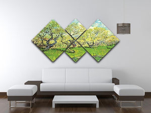 Orchard in Blossom 2 by Van Gogh 4 Square Multi Panel Canvas - Canvas Art Rocks - 3